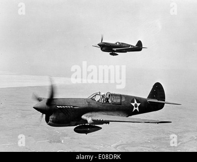 Curtiss P-40 Warhawk, American single-engined, single-seat, all-metal fighter and ground-attack aircraft - Stock Photo