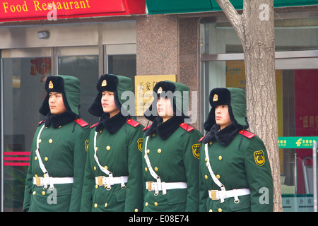Squad Of Peoples Liberation Army Soldiers Line Up In Beijing, China. - Stock Photo