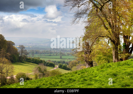 View from Lidcombe Hill near Stanway, Gloucestershire, England. - Stock Photo