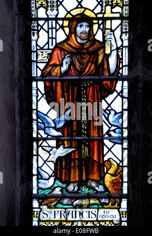 Rochester, Kent, England, UK. Rochester Cathedral - stained glass window. St Francis of Assisi - Stock Photo