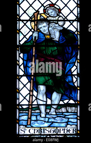 Rochester, Kent, England, UK. Rochester Cathedral - stained glass window. St Christophe, patron saint of travellers - Stock Photo