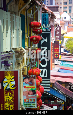 Overhead View Of Pagoda Street In Chinatown, Singapore. - Stock Photo