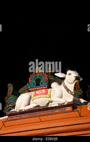Statue Of A Cow On The Sri Mariamman Temple, Chinatown Singapore. - Stock Photo