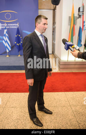 Brussels, Bxl, Belgium. 6th May, 2014. Polish Finance minister Mateusz Szczurek talks to the press after the Ecofin - Stock Photo