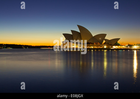 Sydney Opera House at Sunrise, viewed from Campbell's Cove. - Stock Photo