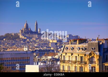 Distant view to Montmartre and Sacre Coeur, Paris, France, Europe - Stock Photo