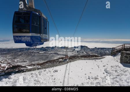 Cable car to Pico de Teide, Parque Nacional del Teide, Spain, Tenerife - Stock Photo