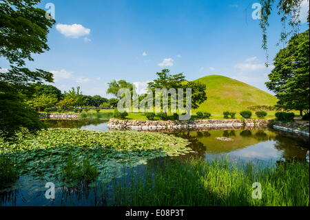 Tumuli park with its tombs from the Shilla monarchs, Gyeongju, UNESCO World Heritage Site, South Korea, Asia - Stock Photo