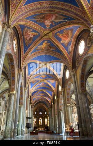 Interior nave, Church of Santa Maria sopra Minerva, Rome, Lazio, Italy, Europe - Stock Photo