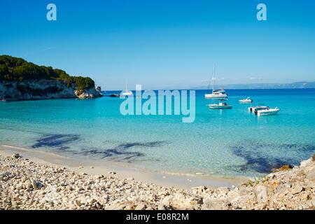 Voutoumi beach, Antipaxos, Antipaxi, Ionian Islands, Greek Islands, Greece, Europe - Stock Photo