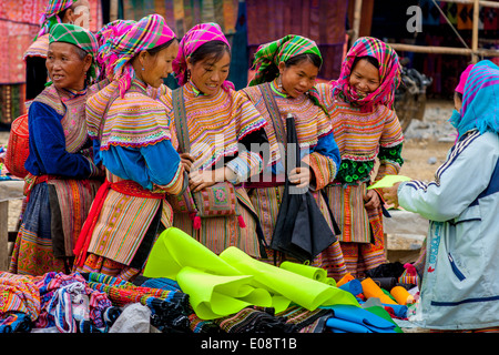 Flower Hmong Women Shopping At The Sunday Market In Bac Ha, Lao Cai Province, Vietnam - Stock Photo
