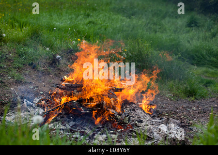 Close up of a bonfire in a garden UK - Stock Photo