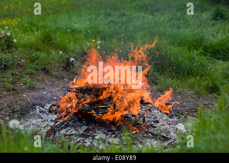 Close up of a bonfire in a garden, UK - Stock Photo