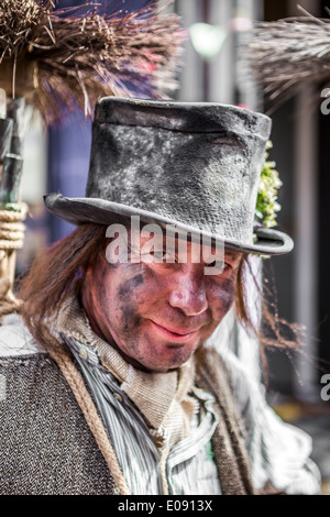 Man dressed as a Traditional Sweep at the Annual Sweeps Festival Rochester 2014 - Stock Photo