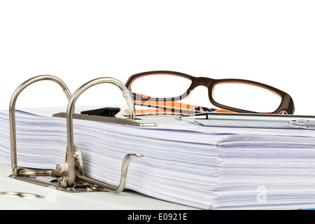 A file with documents and documents. Safekeeping of contracts., Ein Aktenordner mit Schriftstuecken und Dokumenten. - Stock Photo