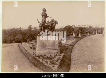 Botanical Gardens, Sydney, [showing Hunstman and Dogs sculpture] c. 1900-1910 - Stock Photo