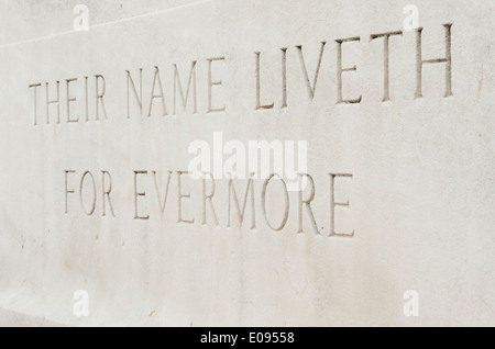 wording on war memorial, their name liveth for evermore - Stock Photo