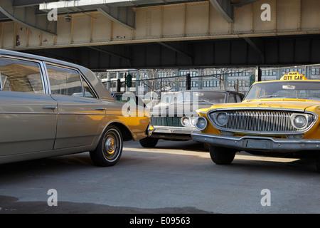 Historic vintage yellow cab in New York City - Stock Photo
