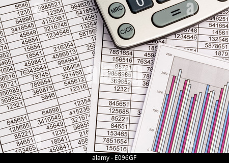 A pocket calculator lies on the figures of a balance to us statistics. Symbolic photo fue turnover, profit and costs., - Stock Photo