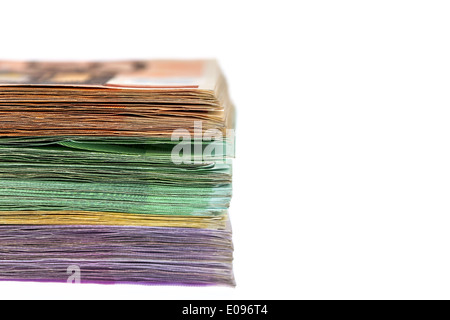 A lot of different euro of bank notes. Symbolic photo fue wealth and investment, Viele verschiedene Euro Geldscheine. - Stock Photo