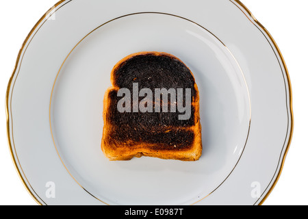 Toast bread became with drink a toast burntly. Burntly toast discs with the breakfast., Toastbrot wurde beim toasten verbrannt.
