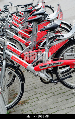 Berlin, Germany. Rental Bicycles Provided by Deutsche Bahn, Collection Point - Stock Photo