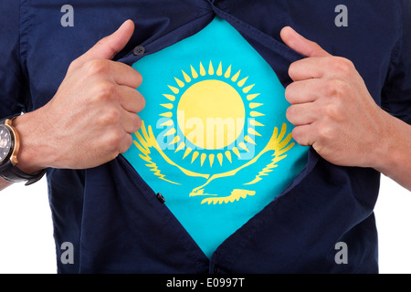 Young sport fan opening his shirt and showing the flag his country Kazakhstan - Stock Photo