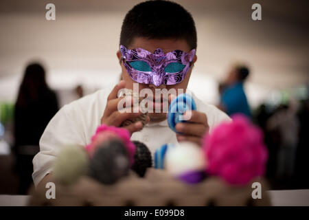 Mexico City, Mexico. 6th May, 2014. A child with down syndrome participates in the 4th Fair of Rights of People - Stock Photo