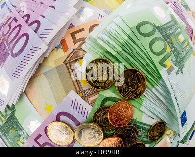 A lot of different euro of bank notes - Stock Photo