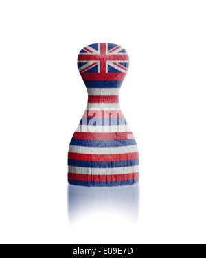 Wooden pawn with a painting of a flag  Hawaii - Stock Photo