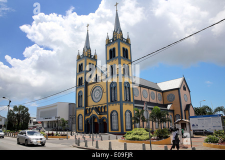 wooden Saint Peter and Paul Cathedral in the Gravenstraat, Paramaribo, capital of Suriname, Latin America - Stock Photo