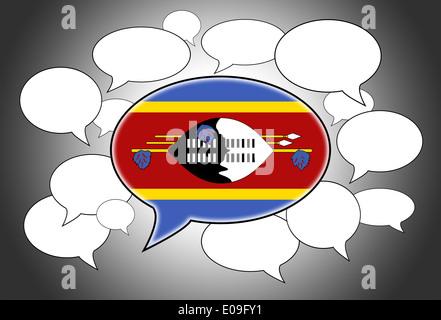Communication concept - Speech cloud  the voice of Swaziland - Stock Photo