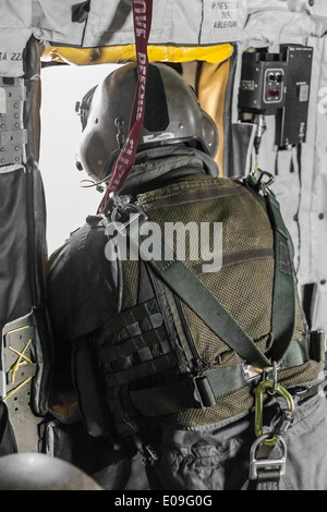 Germany, Baden-Wuerttemberg, Laupheim, German Air Force Aircrew member in a CH-53-helicopter - Stock Photo
