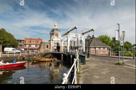 MORSPOORT BRIDGE OVER THE MORSSINGEL CANAL IN LEIDEN HOLLAND - Stock Photo