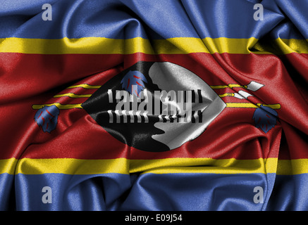 Satin flag  three dimensional render  flag of Swaziland - Stock Photo