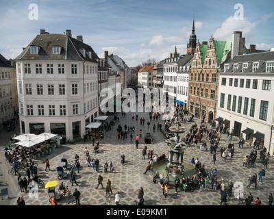 Amagertorv - central square in Copenhagen, Denmark - Stock Photo