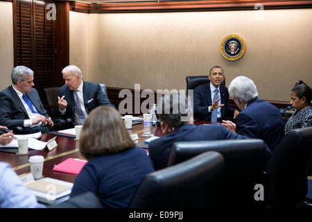 US President Barack Obama and Vice President Joe Biden hold a National Security Council meeting to discuss Middle - Stock Photo