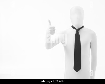 Unknown person dressed in white suit with black tie making ok gesture, isolated on white background - Stock Photo