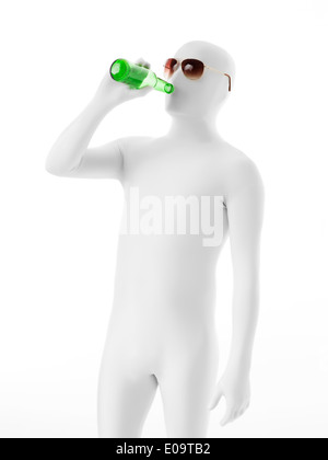 faceless man with sunglasses dressed in white suit, drinking beer - Stock Photo