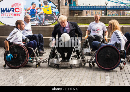 London, UK. 7th 2014. Great Britain wheelchair rugby stars join London Mayor Boris Johnson to announce the first - Stock Photo