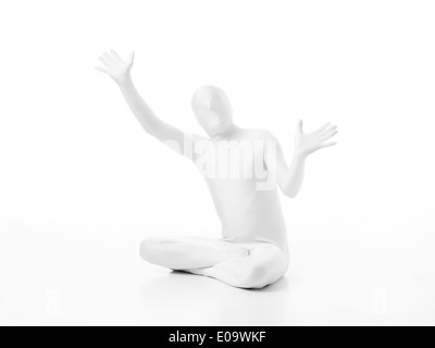 faceless man dressed white with hands in position mime - Stock Photo