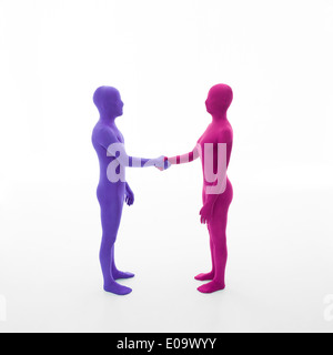 unrecognizable man dressed in purple shakes hands with faceless woman dressed in pink on white background - Stock Photo