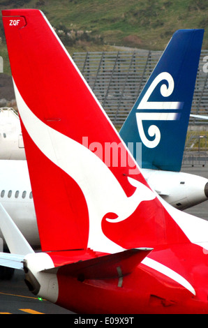 Air New Zealand and Qantas planes in Auckland International Airport. - Stock Photo