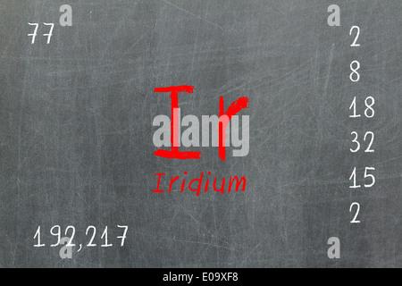 Isolated blackboard with periodic table  Iridium  Chemistry - Stock Photo
