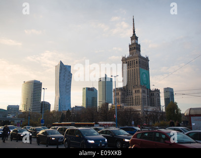 Traffic is seen passing the Warsaw skyline. - Stock Photo