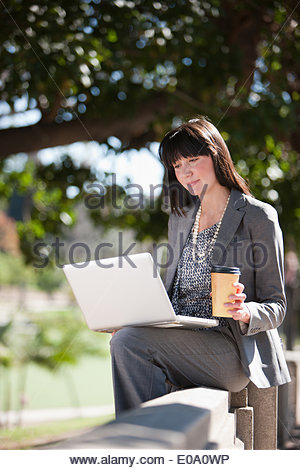 Businesswoman working on laptop in park - Stock Photo