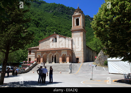 The Gola di Ambro where the Virgin miraculously appeared, Sibillini National Park, Marche, Umbria, Italy, Europe - Stock Photo