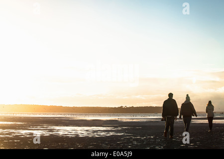 Adult friends out strolling at the coast - Stock Photo