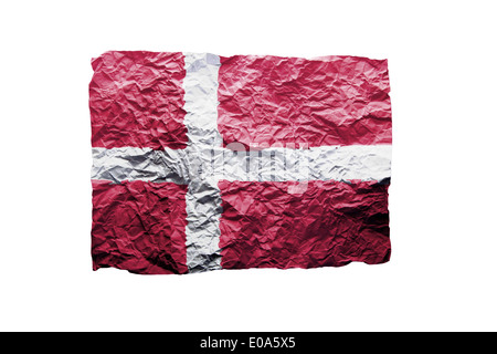 Close up of a curled paper on white background  print of the flag of Danmark - Stock Photo