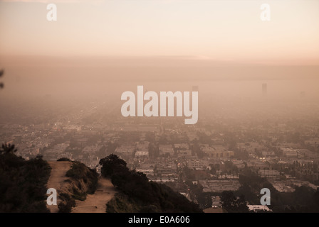View of misty Los Angeles from Runyon Canyon, California, USA - Stock Photo